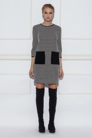 Monochrome print black pockets dress