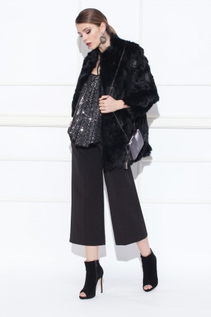 Rabbit real fur black coat