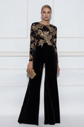 Black jumpsuit with golden sequins