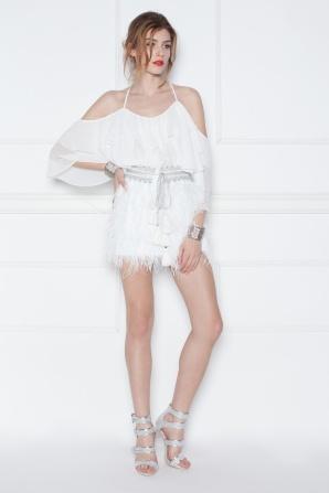 Fringed mini white skirt