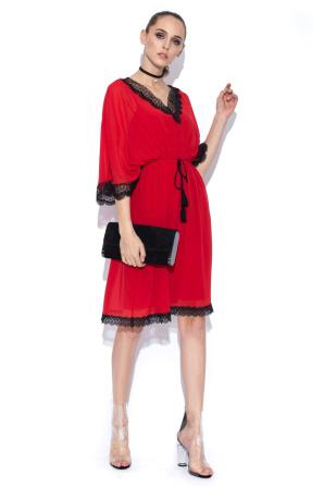 Red dress lace embellished