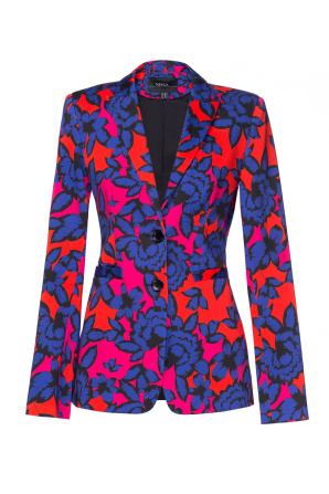 Modern jacket with multicoloured print