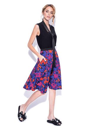 Multicoloured print flared skirt