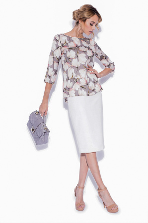 Peplum top with floral print