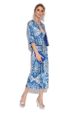 Elegant bolero with blue geometric print