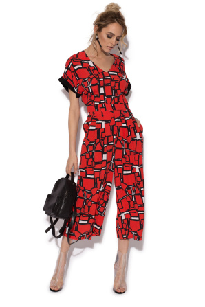 Geometric print cullotes overall