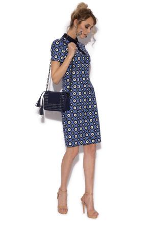 Casual pencil dress with retro print