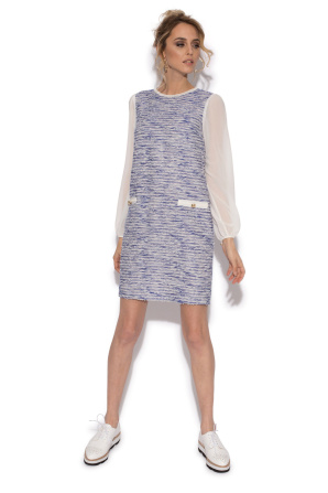 Office dress with semi-opaque sleeves