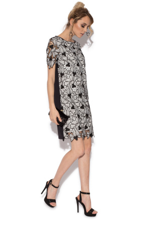 Black and white lace evening short dress