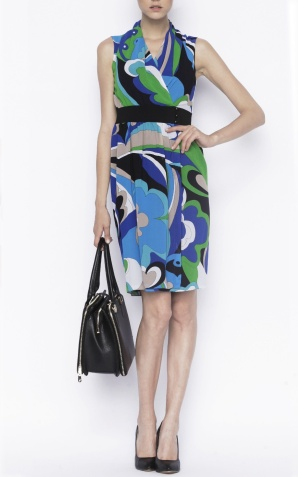 Wrap dress in abstract print