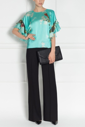 Printed top with flared sleeve