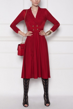 Red belted midi dress