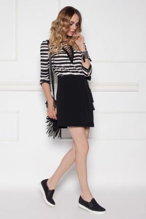 Wrap mini black skirt