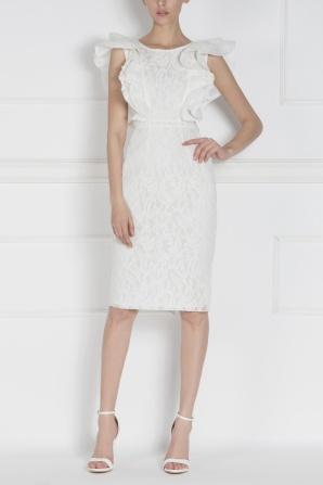Ruffled midi lace dress