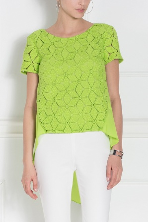 Asymmetrical lace green top