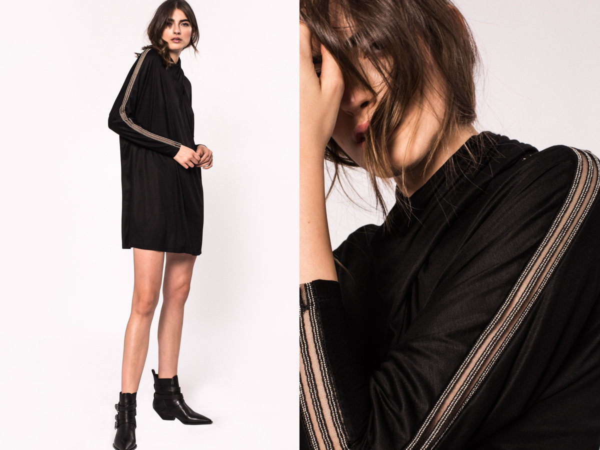 Cross neck viscose dress