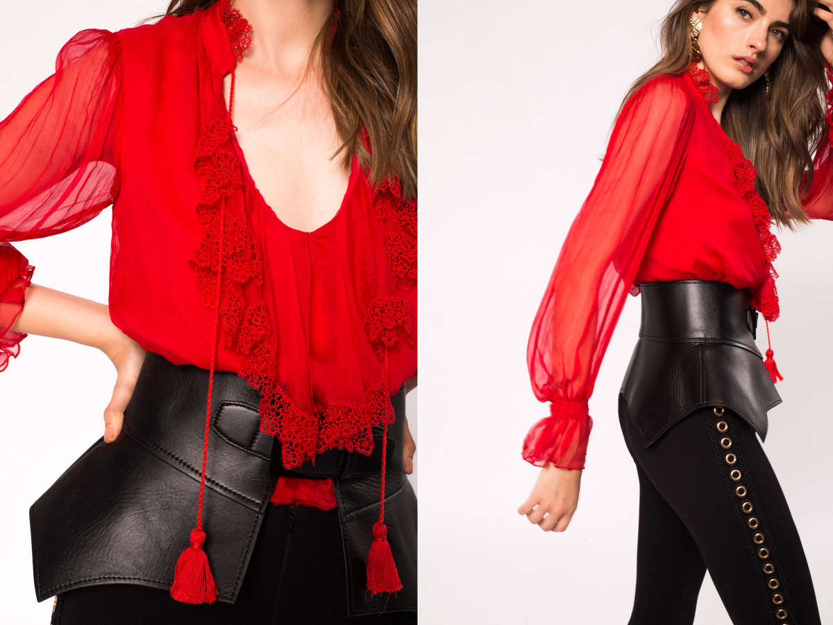 Lace detail silk top