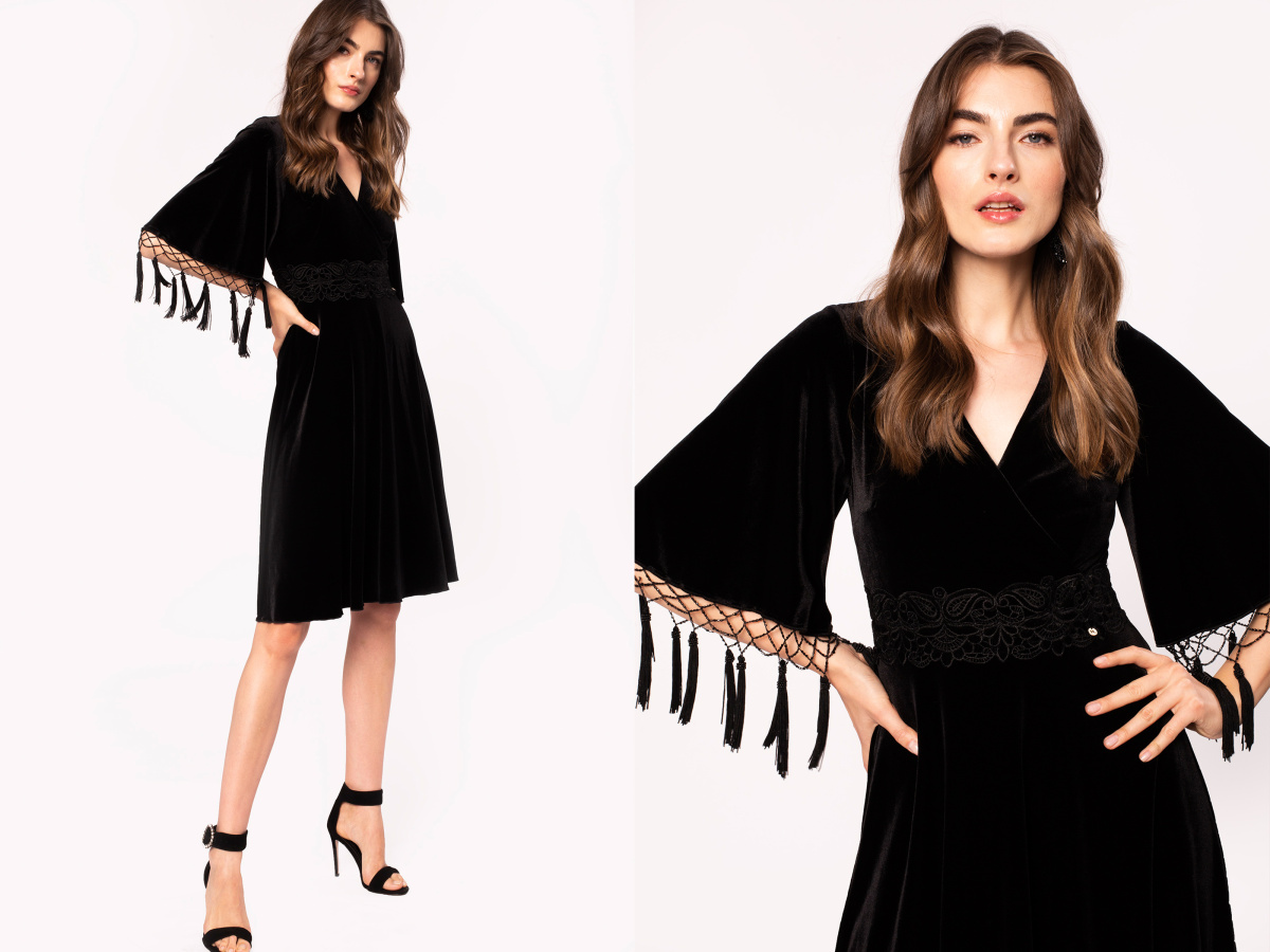 Lace embroidery velvet dress