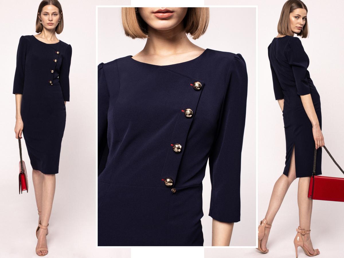 Metallic buttons sheath dress