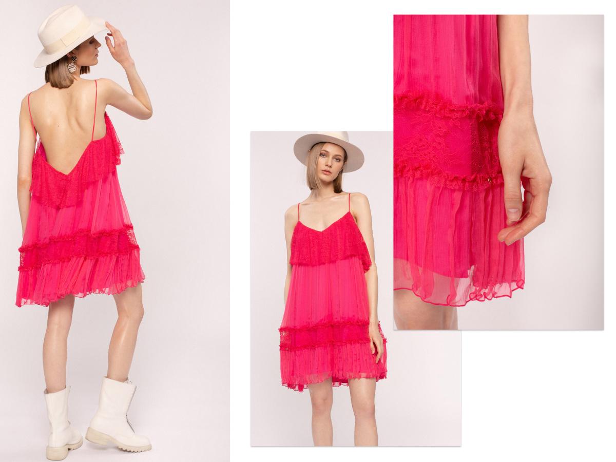 Lace details silk mini dress
