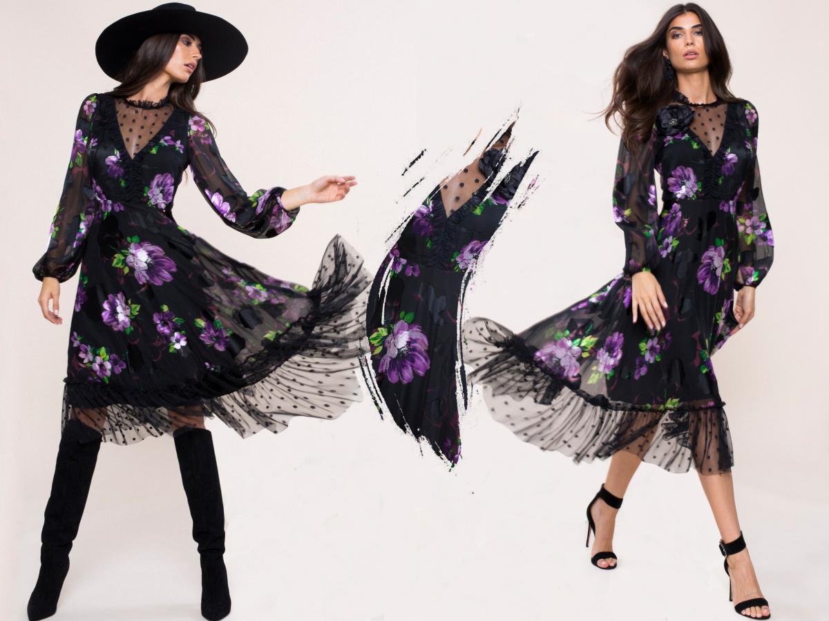 Rochie din vascoza cu imprimeu floral