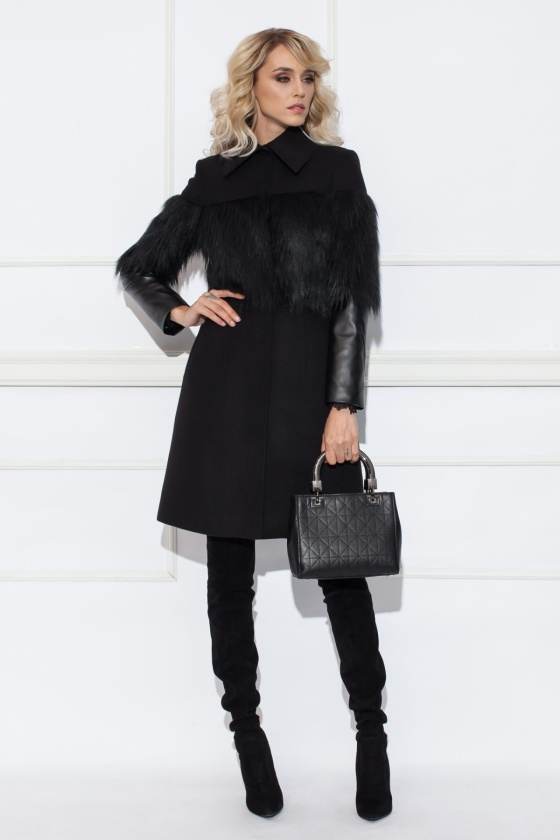 Coat with faux leather sleeves
