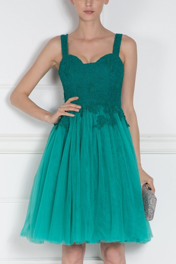 Evening Dress with floral lace and tulle