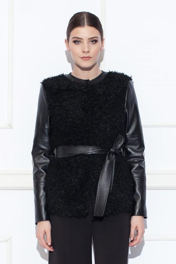 Jacheta cu insertii din piele ecologica
