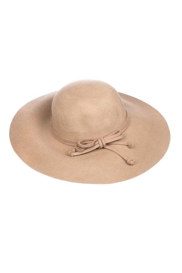 Pălărie bej cu fundita