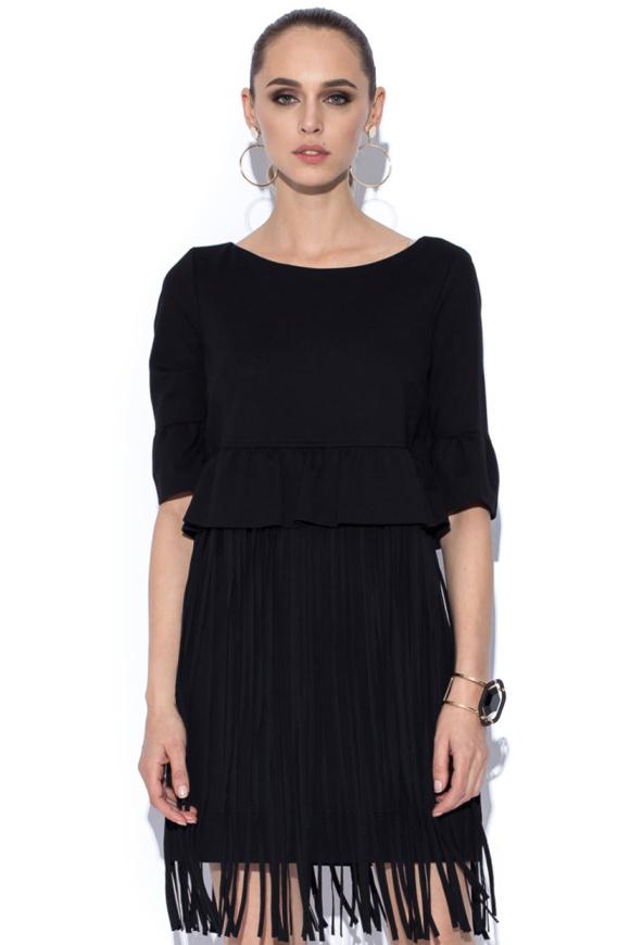 Rochie neagră cu design special cu franjuri aplicaţi