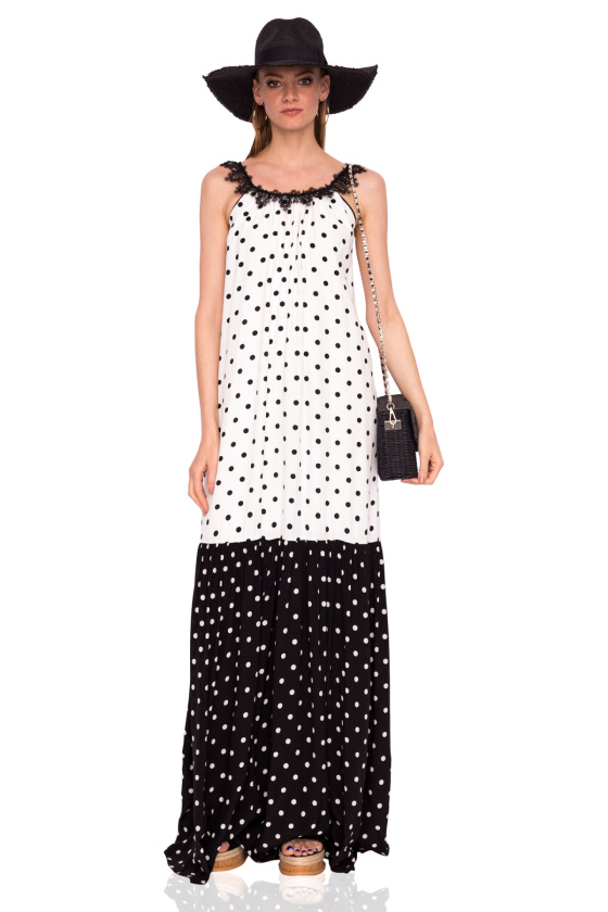 Black and white dots maxi dress
