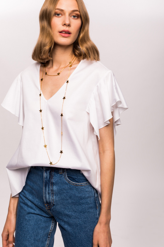 Cotton butterfly short sleeves top