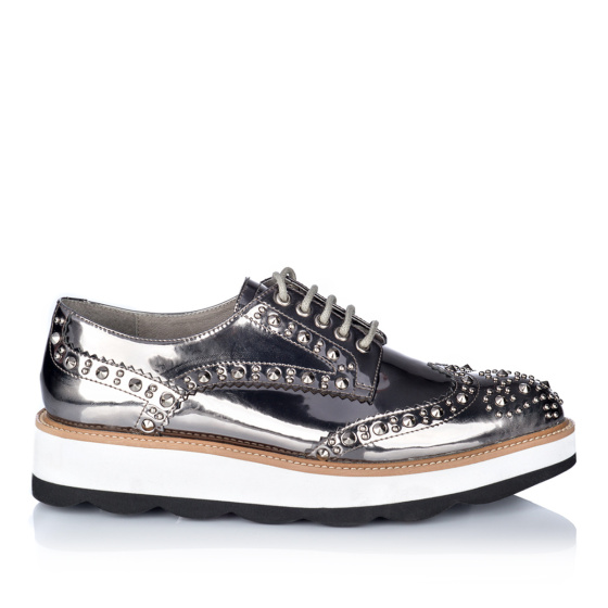 Platform brogues in silver leather