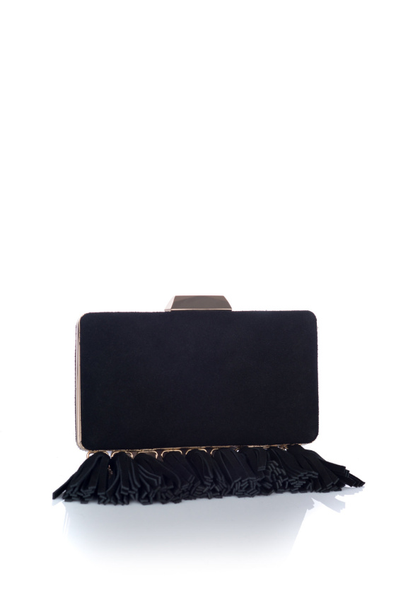 Tasseled leather clutch