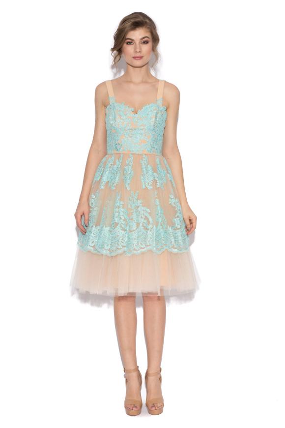 Lace embellished tulle dress