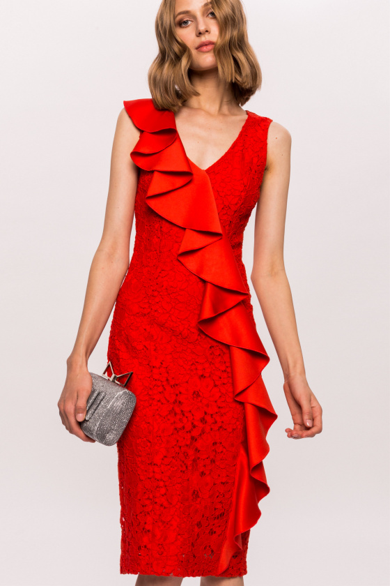 Lace ruffle applied red dress