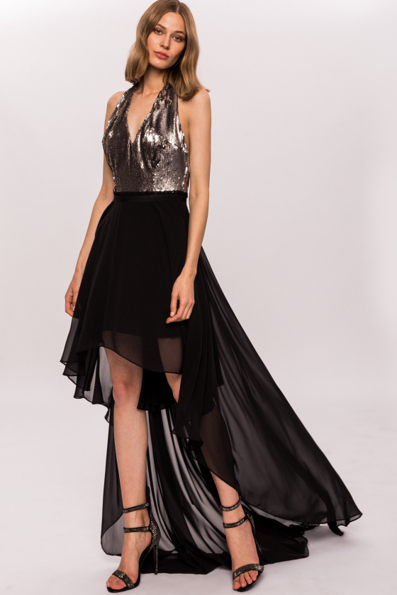 Asymmetric dress with sequin bust