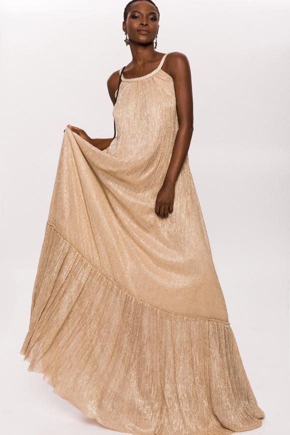 Golden thread maxi dress