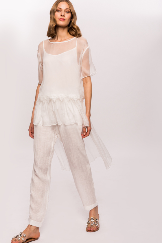 Silk transparent asymmetrical top