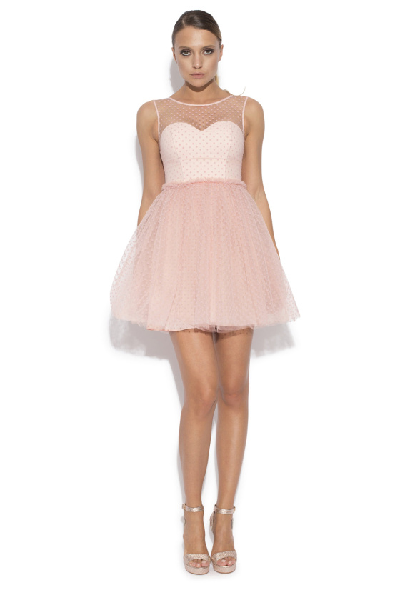 Pink mini tulle evening dress