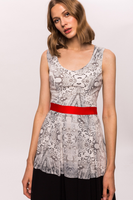 Snake printed dress with waist detail