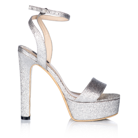 Silver sandals with platform