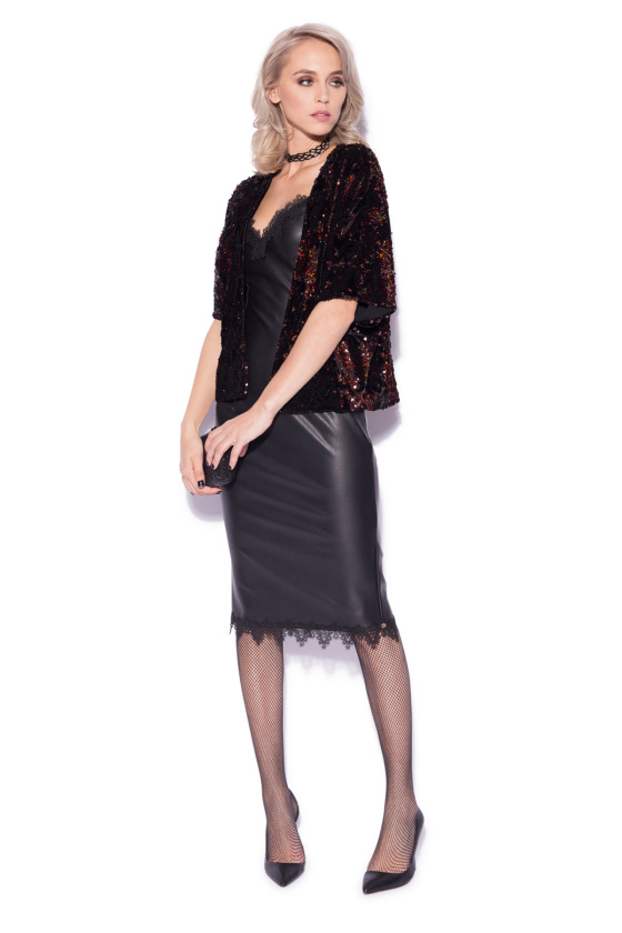 Sequined jacket with 3/4 sleeves