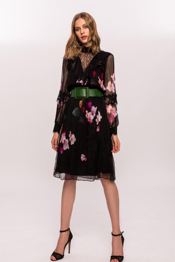 Rochie din matase cu imprimeu floral