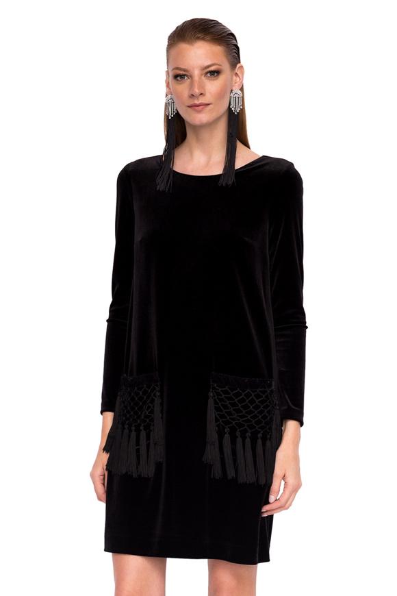 Velvet pocket tassels dress with long sleeves