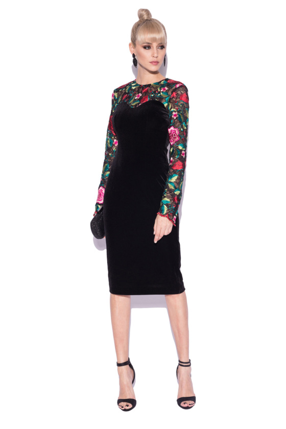 Velvet dress with embroidered sleeves