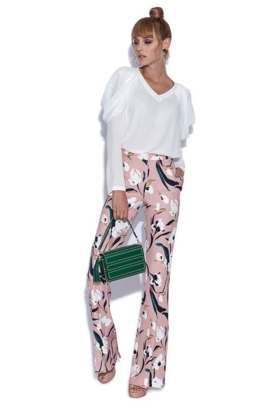 Straight trousers in floral print