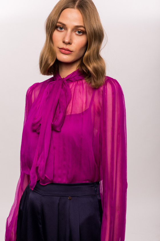 Silk top with sheer sleeves
