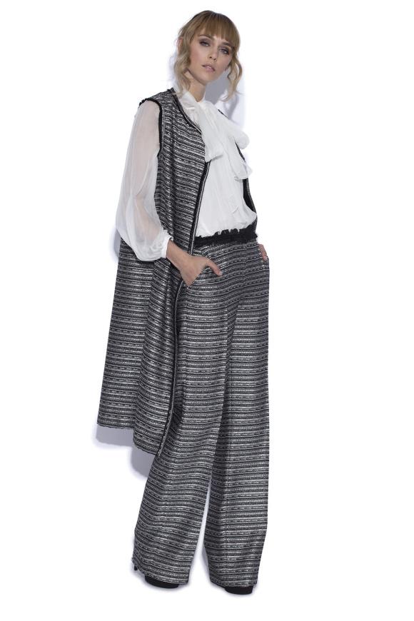 Pantaloni drepti cu fir metalic