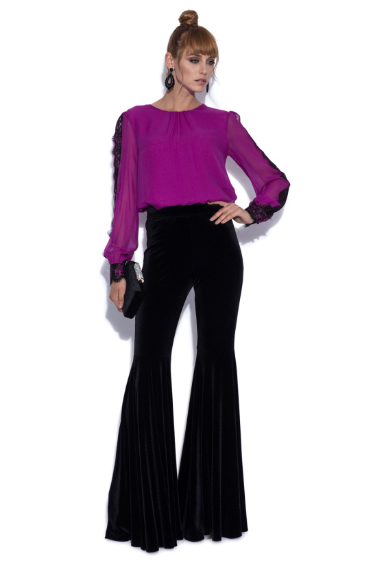 Silk top with lace inserts on sleeves